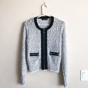Black & White Fuzzy Tweed Blazer